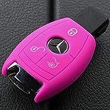 Soft Case Schutz Hülle Auto Schlüssel für Mercedes Benz Smartkey E-Klasse W212 S212 C207 A207 CLS CLA 117 B-Klasse W242 W246 A-Klasse W176 S-Klasse W221 W222 V-Klasse W447 / Farbe: Pink