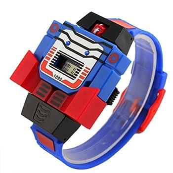 VIGOROSO Boys Children Kids Digital Pu Watch Transformers Bumblebee Cartoon Wristwatch  Blue Band