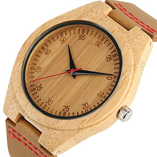 GIPOTIL Relojes Retro Hombres Naturaleza Reloj de Madera Cuero de bambú Moda Unisex Creativo Cool Hombre Mujer Reloj Regalos