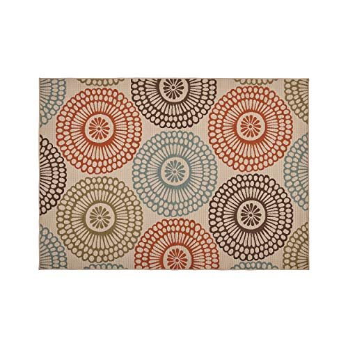 """Christopher Knight Home 308593 Dahlia Outdoor 6'7"""" x 9'2"""" Medallion Area Rug, Ivory and Multi"""