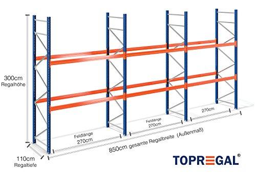 Palettenregal Schwerlastregal Industrieregal H300xB850xT110 für 27 Europaletten