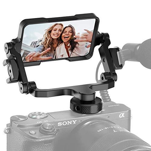 HAFOKO PT-14 Verstellbarer Vlog Selfie Flip-Spiegel Mit Kalter Schuhhalterung für Mikrofon Licht Kompatibel für Kamera Smartphone DSLR Action Kamera Vloging Video Filmemachen YouTube Live