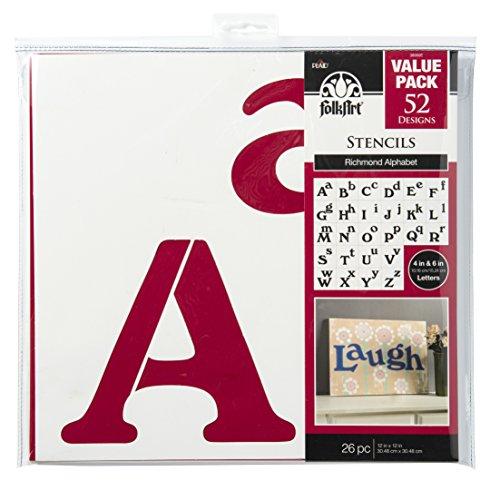 FolkArt Die Cut Paper Stencils, 38960E Richmond Alphabet (26 Pack)