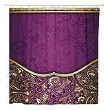 AdaCrazy Cortina de Ducha Asia Resumen Dorado y púrpura Floral Oriental Wine Curve Home Baño Decoración Tejido de poliéster Impermeable 72 x 72 Pulgadas Set con Ganchos