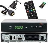 Opticum Sat Receiver SBOX Plus - PVR Aufnahmefunktion, Timeshift - HDTV Lernbare Universal Fernbedienung - Media Player Funktion, HDMI, USB, Unicable - Astra, Hotbird vorinstalliert + HDMI Kabel