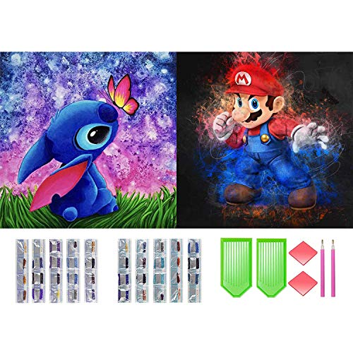 DIY Diamond Painting Kits, 5d Diamonds Art Round Full Drill Diamond for Adults Kids, Super Mario and Stitch Paintings Arts and Crafts by Number Kits, Gift for Family or Self Use