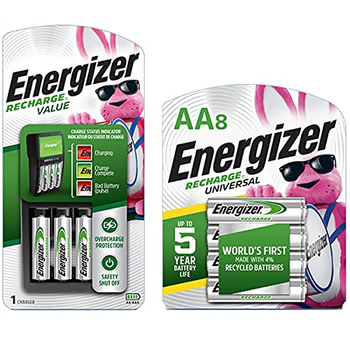 Energizer Rechargeable AA and AAA Battery Charger with 4 AA NiMH Rechargeable Batteries & Rechargeable AA Batteries, 2,000 mAh NiMH, Pre-Charged, Chargeable for 1,000 Cycles, 8 Count