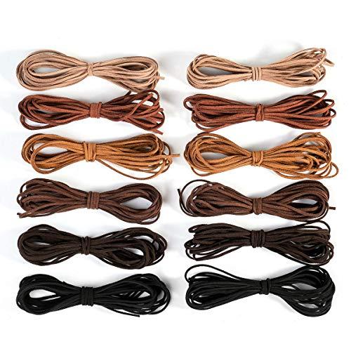 12 unidades (60 m), cinta de piel, 6 colores, 3 mm x 5 m, cordón de cuero para pulsera, collar, perlas, joyas, artesanía artesanal, con cordón de cuero para pulsera, collar