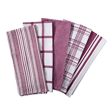 DII Kitchen Dish Towels (Wine, 18x28 ), Ultra Absorbent & Fast Drying, Professional Grade Cotton Tea Towels for Everyday Cooking and Baking -  Assorted Patterns, Set of 5
