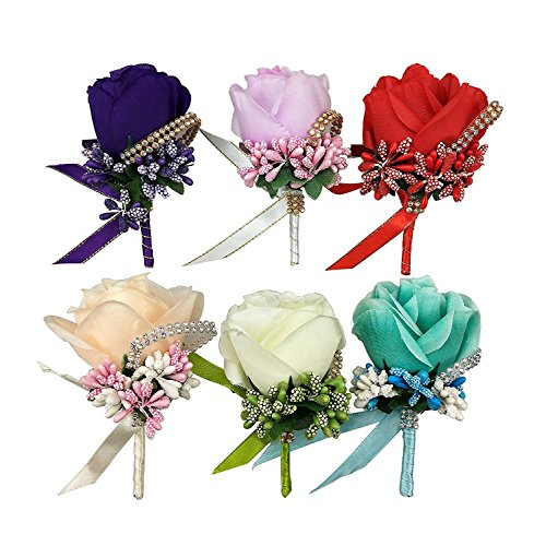 CSPRING 6PCS Silk Rose Boutonniere Corsage Classic Artificial Groom Flowers Brooch with Pin and Clip for Wedding Prom Party