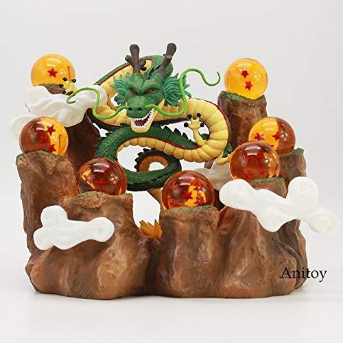 Yvonnezhang Nuevo Caliente !!! Dragon Ball Z El Dragón Shenron + Soporte de montaña + 7 Bolas de Cristal Juguetes de PVC Figuras de colección Modelo Juguetes, 1 Juego
