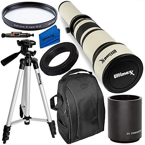 Ultimaxx 650-1300mm (w/ 2x-- 1300-2600mm) Telephoto Zoom Lens Kit for Nikon D7500, D500, D600, D610, D700, D750, D800, D810, D850, D3100, D3200, D3300, D3400, D5100, D5200, D5300, D5500, D5600, D7000