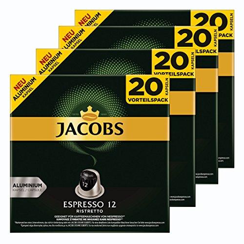Jacobs Espresso 12Ristretto, Cápsulas de Café, Compatible con Nespresso, Café, 80Cápsulas, Á 5.2g