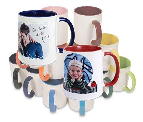 Tasse personalisierbar mit eigenem Foto und Text - Fototasse in 9 Farben (rosa)