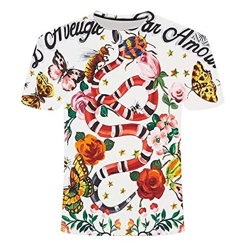 BOLIXIN Camiseta de Manga Corta Camiseta con Estampado 3D de Flor Rosa para Hombre de Verano 2020, Camiseta Informal cómoda 3DT de Manga Corta de Verano a la Moda para Hombre, TXL3363, XXS