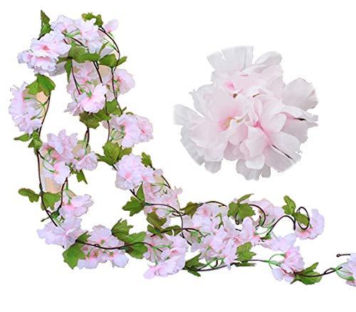 JaneYi (2 Stück Gefälschte Kirsch Rebe Künstliche Blumen Pflanze Hängend seiden Efeu Girlande mit grünen Blättern für Drinnen und Draußen Zuhause Hotel Garten Hochzeit Party Kunst Dekor(Rosa)