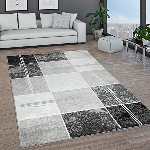 Paco Home Teppich Wohnzimmer Kurzflor Marokkanische Kreis Und Bordüren Muster Modern, Grösse:60x100 cm, Farbe:Grau