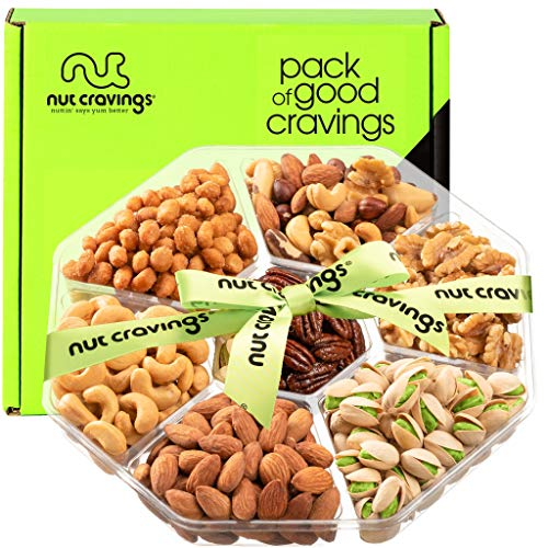 Gourmet Nut Gift Basket, Green Ribbon (7 Mix Tray) - Valentine Food Arrangement Platter, Care Package Variety, Prime Birthday Assortment, Healthy Kosher Snack Box for Families, Women, Men, Adults
