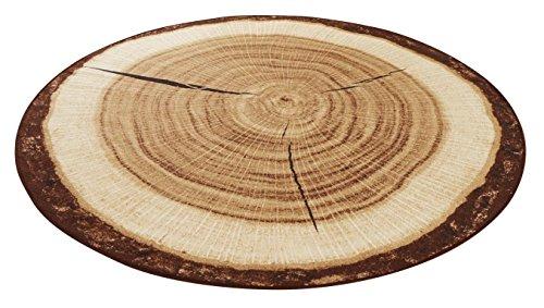 HANSE Home Design Velours Baumstamm rund Teppich, Polyamid, braun, 100 x 100 x 0.9 cm