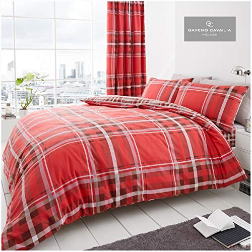 Gaveno Cavailia Easy Care Checkered Duvet Cover Quilt Set With Pillow Case, Reversible, Poly Cotton, Newton Tartan Check Red, Double Size Bedding, Polycotton