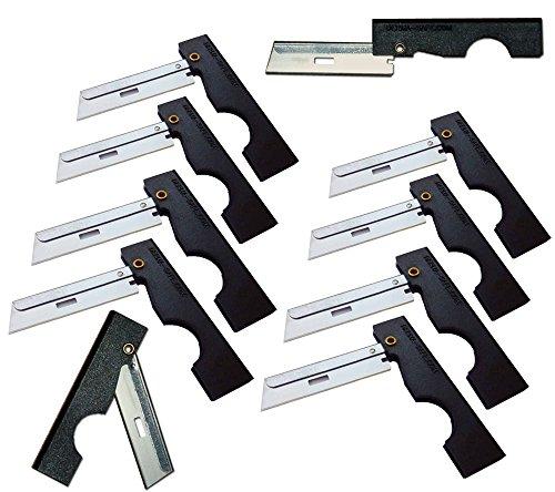 Derma-Safe Folding Utility Razor (10-pack) for Survival & First Aid Kits (Black)