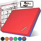 POWRX Balance Pad 40x34x5 cm inkl. Workout Ideal zum Training von Gleichgewicht, Stabilität und Koordinationstraining Versch. Farben (Rot-Blau)