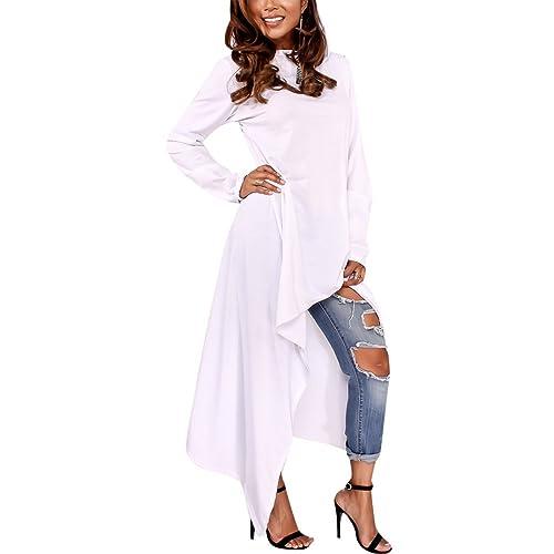 9417d4bf Annystore Women's Solid Irregular Hem Long Sleeve Loose Hoodies Sweatshirts Dress  Plus Size