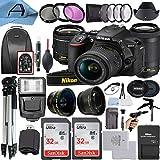 Nikon D5600 DSLR Camera 24.2MP Sensor with NIKKOR 18-55mm VR and 70-300mm Dual Lens, 2 Pack SanDisk 32GB Memory Card, Backpack, Tripod, Slave Flash Light and A-Cell Accessory Bundle (Black)