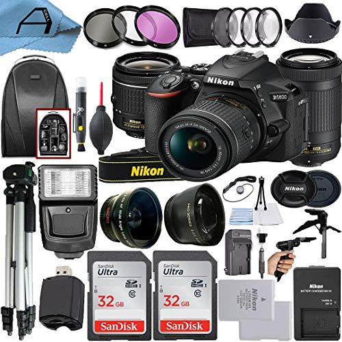 Nikon D5600 DSLR Camera 24.2MP Sensor with NIKKOR 18-55mm VR and 70-300mm Dual Lens, 2 Pack SanDisk 32GB Memory Card,...