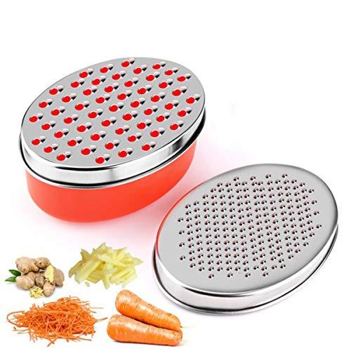Rallador de queso con contenedor de almacenamiento de alimentos y tapa, picadora de verduras, trituradora de queso y verduras (rojo)