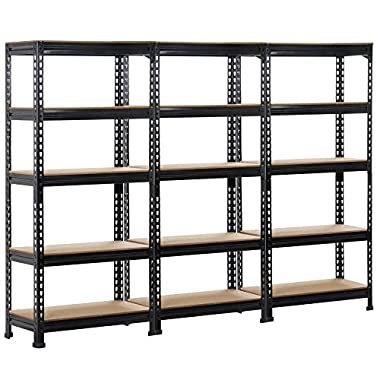 Topeakmart 3 pack Heavy Duty 5 Tier Commercial Industrial Racking Garage Shelving Unit Adjustable Display Stand,59.1  Height