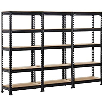 Topeakmart 3 Pack Heavy Duty 5 Tier Commercial Industrial Racking Garage Shelving Unit Adjustable Display Stand,59  H