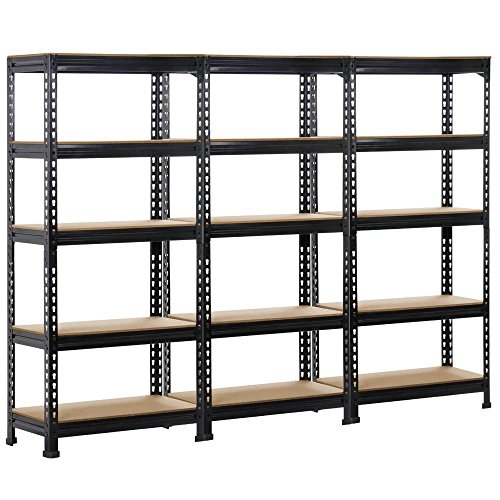 Yaheetech 3 PCS 5-Shelf Heavy Duty Shelving Units and Storage Shelves Rack Garage