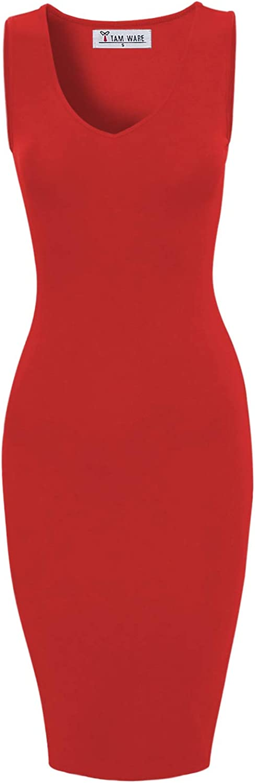 TAM WARE Women Stylish V-Neck Sleeveless Double Slit Bodycon Midi Dress