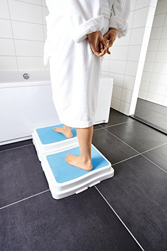 Eurosell - Premium Badewannen / Dusche Einstieg Hilfe Treppe Stufe Senioren - stapelbar - Anti Rutsch Beschichtung