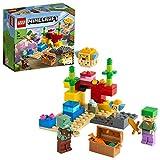 LEGO 21164 Minecraft El Arrecife de Coral Set de Construcción con Alex, Pez Globo de 2 Ladrillos y Zombie Ahogado