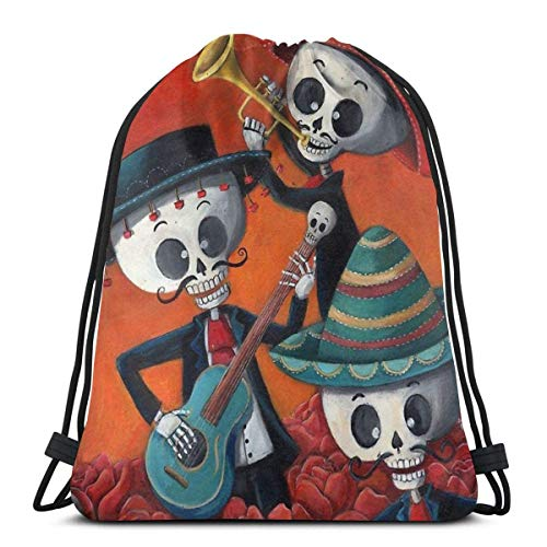 GeorgoaKunk Dia De Los Muertos Skeleton Musicans Mochila Deportiva Plegable Impermeable Bolsa de Gimnasio Saco Mochila con cordón