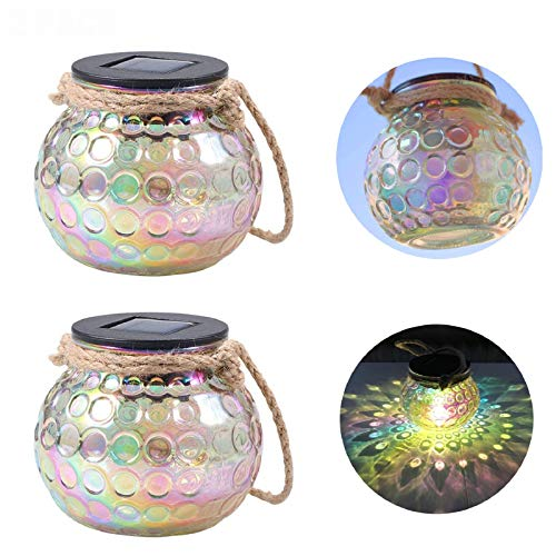 ANGMLN 2 Pack Solar Lantern Outdoor Hanging Light Garden Lights Glass Jar Table Lamp IP65 Waterproof for Patio Porch Yard Lawn Balcony Fence Party Decor Garden Accessories