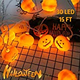 Halloween Outdoor String Lights Pumpkin - 15 Ft 30 LED Halloween Pumpkin String Lights Battery-Powered Waterproof Jack-O-Lantern Lights, Indoor Outdoor Pumpkin Decor, 8 Modes