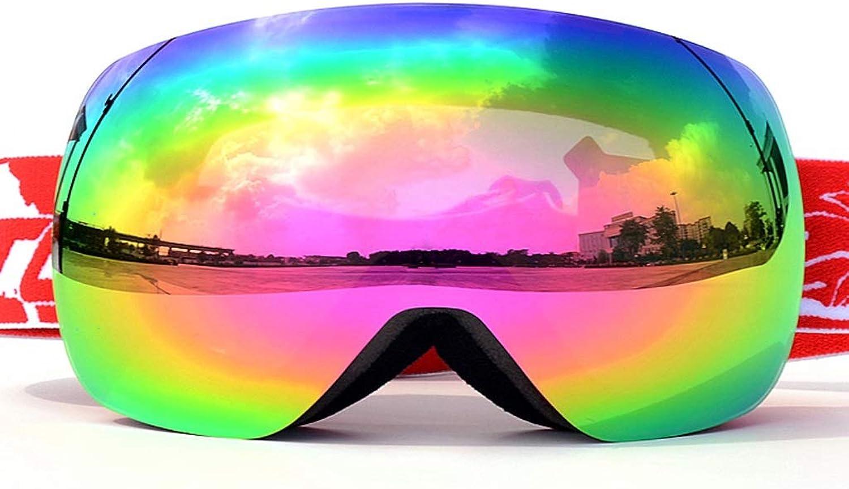 Ski Goggles Adult Double Anti-fog Large Spherical Goggles Card Myopia Outdoor Ski Goggles 18  10.5cm Red LJJOZ (color   Red)