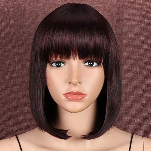 """Style Icon Wig 12"""" Bob Synthetic Wig Short Straight Quality Wigs For Women High Temperature Fiber(12 Inches, 99J)"""