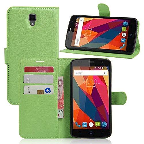 Guran? PU Leder Tasche für ZTE Blade L5 Plus Smartphone Flip Deckung Stehen Funktion und Karte Slot Case-grün