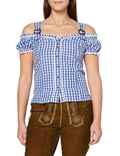 Fuchs Trachtenmoden Damen Trachten Bluse mit Carmenarm und Metall Schließe, Gr. 42 (Herstellergröße: L), Blau