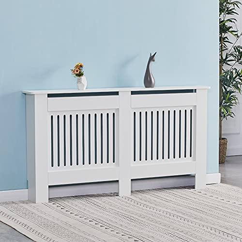 KJ Cubierta para radiador tablero de fibra de densidad Cubre radiadores blanco (152 x 19 x 82 cm)