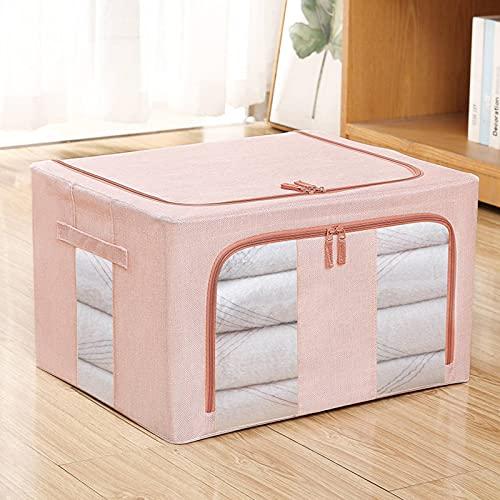 N\C - Caja de almacenamiento plegable con marco de acero, gran bolsa de almacenamiento apilable con asa y ventana transparente, apta para ropa, juguetes, cosméticos, ropa de cama