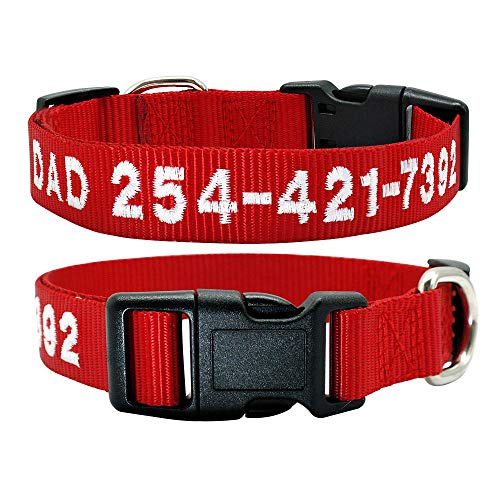 Collar de identificación de Perro Personalizado Collar de Perro Bordado de Franela de Nailon Nombre de Mascota Personalizado No. de teléfono Collar para Perros pequeños y Grandes SM L-22RE-WH_S