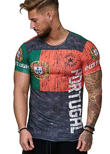 qianchuangyuan T-Shirt Coupe du Monde, Été Homme Respirant Maillot de Football Manches Courtes T-Shirt 3D Imprimé World Cup Portugal Large