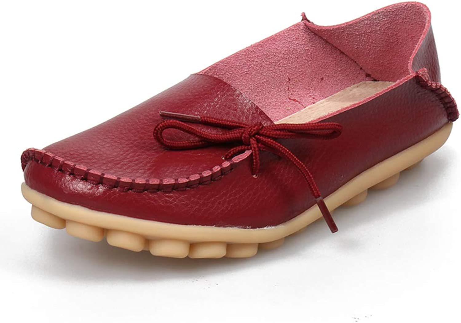 SHIBEVER Women's Leather Loafers Moccasins Wild Driving Casual Flats Oxfords Breathable shoes Burgundy 4.5