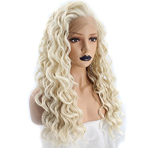Anogol Hair Cap+Platinum Blonde Lace Front Wig with Free Part Synthetic Hair Wigs Long Curly Blonde Lace Front Wig for Women