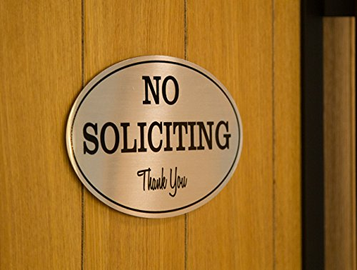 2-Pack No Soliciting Signs - No Trespass Signs, Private Property Signs, No Solicitation Self-Adhesive Oval Aluminum Signs for Office, Business or Home Use, Silver - 7 x 4.4 Inches Photo #3
